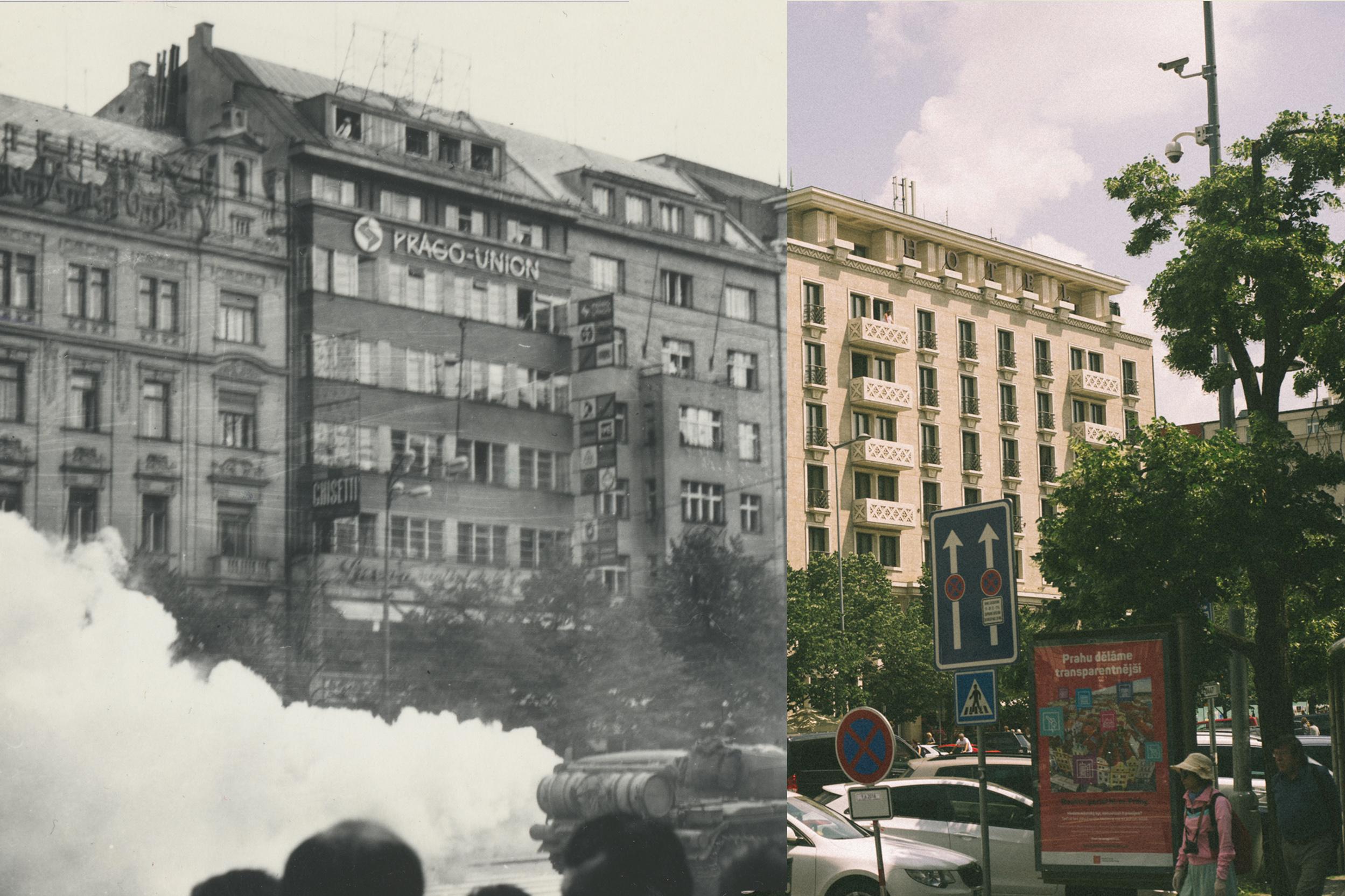 Nepoužívat - juxtapose 1968/2018 - Václavské náměstí 41, Palác knih Luxor